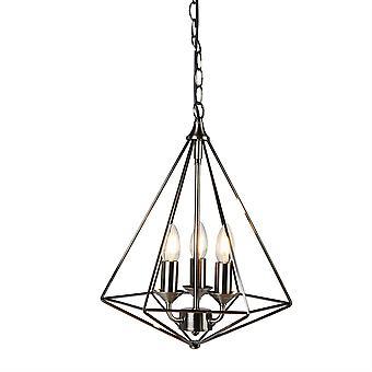 Zoeklicht Kubus - 3 Licht Plafond Hanger Antiek Zilver, E14