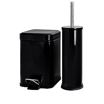 Bathroom Pedal Bin & Toilet Brush Set - 3L Square Bin - Black