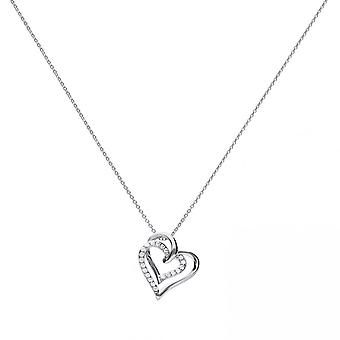 Diamonfire Silver White Zirconia Entwined Hearts Necklace N4240