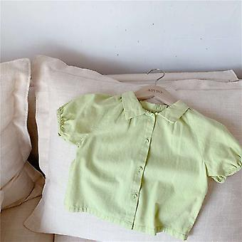 Children's Summer Clothing-'s Linen Cotton Short-sleeved Shirt