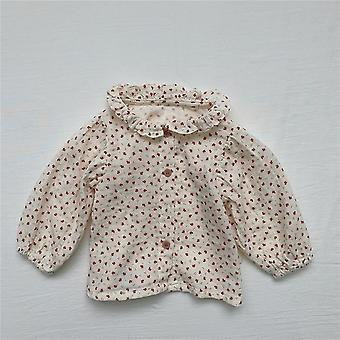 Baby, Pure Cotton Cute Plaid Long Sleeve Doll Shirts
