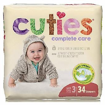 First Quality Unisex Baby Diaper Cuties Complete Care Tab Closure Size 3 Disposable Heavy Absorbency, 34 Bags