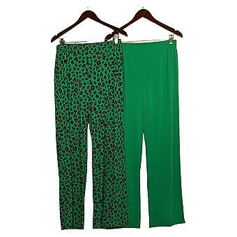 IMAN Global Chic Women's Pants Solid/Print 2-Pack Palazzo Green 685-966