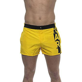 Yellow Swimshort With Logo. Front Pocket