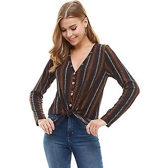 Knit Wood Button Down Tie Front Cardigan