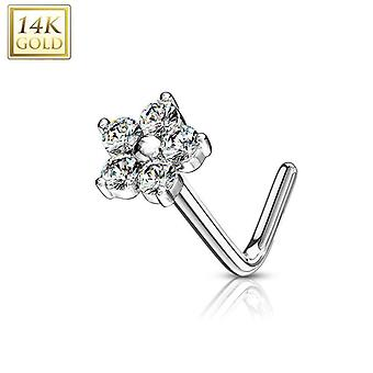 Nose ring l-bend with cz flower top 14kt solid gold 20g