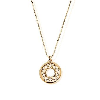 ChloBo GCDC11124 Gold Tone Diamond Cut Chain With Heart Mandala Pendant