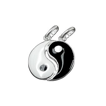 Sterling Silber 925 16mm schwarz & weiß Freundschaft Yin-yang Anhänger