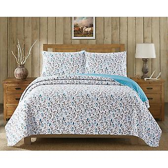 3Pcs Bedspread Novelty Loni Harris Horse Farm Transitional King/Queen Quilt