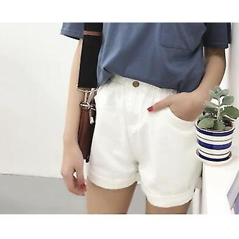 Sommer High Waist Denim Shorts Casual Loose Ladies Fashion Roll Up Saum Jeans
