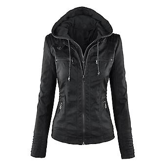 Winter/autumn Motorcycle Jacket Black Outerwear Faux Leather Pu Jacket