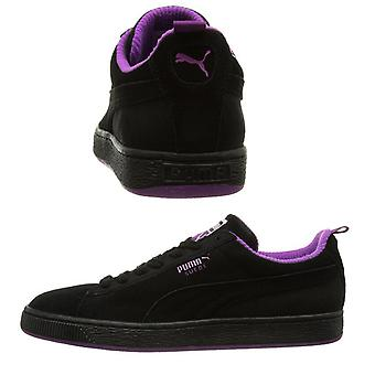 Puma Suede Classic Black Purple Leather Lace Up Mens Trainers 355380 01 D26