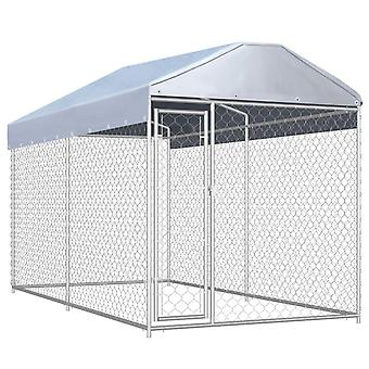 Outdoor dog kennel with canopy 382x192x235 cm