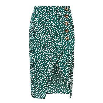 High Waist Split Midi Women Button Green Leopard Dot Print Casual Skirt