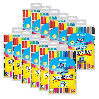 Washable Markers, Double-Tip, 10 Colors Per Pack, 12 Packs