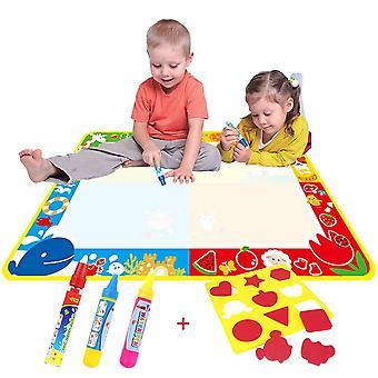 Hračky pre 2 ročné dievčatá chlapci magická vodná doodle rohož / voda kreslenie maľovanie rohož (100cm x 73cm)so 4