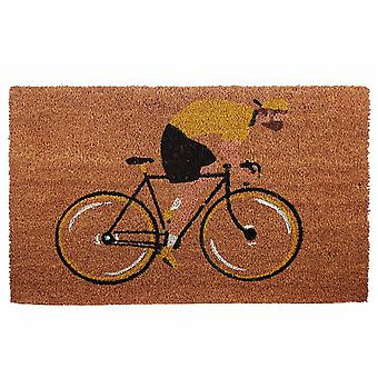 Fahrrad Fußmatte Radfahrer  braun, bedruckt, aus Kokosfaser, Unterseite aus PVC.