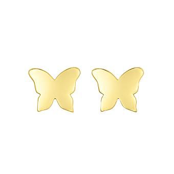 14K keltainen kulta perhonen nappi korva korut