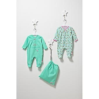 De Essential One Baby Girls Frill Floral Sleepsuits - 2 Pack