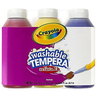 Artista Ii Peinture tempera lavable, couleurs primaires, bouteilles de 8 onces, 3 count