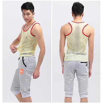 Sexy Underwear Clothing Stripe Mesh Net Shirts Fashion Undershirts Vest Stripe
