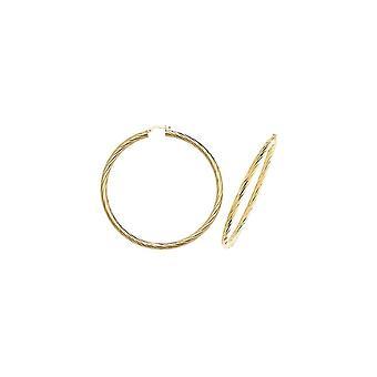 Ewigkeit 9ct Gold Extra große Runde 68mm verdreht kreolischen Creolen Ohrringe