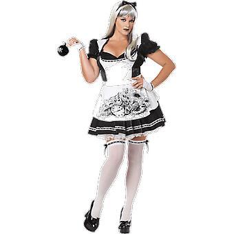 Womens Dark Alice In Wonderland Plus Size Halloween Fancy Dress Costume