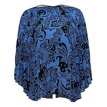 Bob Mackie Women's Top Paisley Plissé Caftan Blue A341830