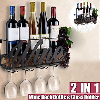 Rack Bottle Store Champagne Shelf With 4 Built-in Wine Glass Holders And Extra