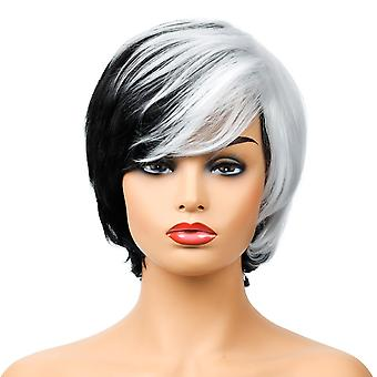 Brand Mall Wigs, Lace Wigs, Realistic Fluffy Short Hair Straight Hair Personality Mixed Color Wigs