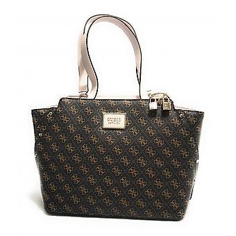 Guess Tyren Girlfriend Carryall Shopping Bag 3 Compartments Brown/ Stone Bs21gu06 Sg796623