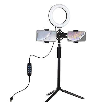 Puluz Pkt3038 6.2 Inch Usb Video Ring Light With Tripod Light Stand Extension Stick Dual Phone Clip For Tik Tok Youtube Live Streaming