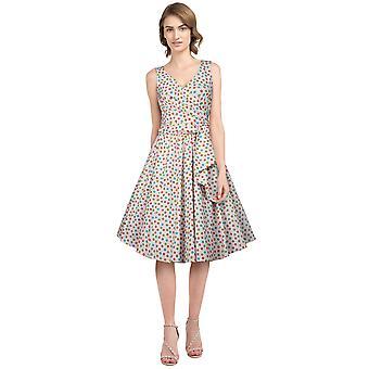 שיק כוכב בתוספת גודל רטרו לעטוף שמלה ללא שרוולים ורוד / נקודות