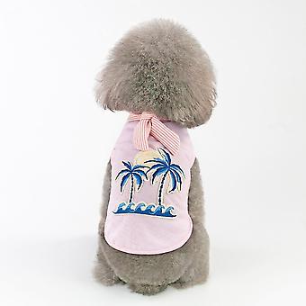 Sommar kokosnöt broderad väst t-shirt husdjur kläder