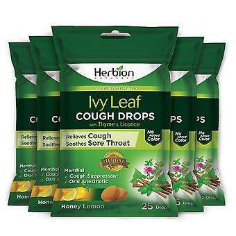 Herbion Naturals Cough Drops with Ivy Leaf, Thyme & Licorice Extracts – 25 Ct (Pack of 5)