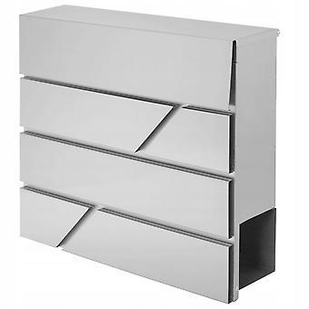 Letterbox acero inoxidable con soporte de periódico - 37x36.5x11cm