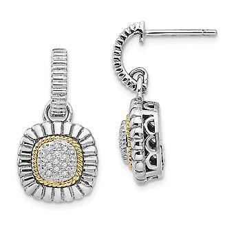 925 Sterling Zilver gepolijst met 14k Diamond Dangle Post Oorbellen Sieraden Geschenken voor vrouwen - .12 dwt