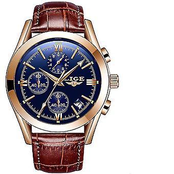 Business Leather Waterproof Quartz Watch(BLUE2)