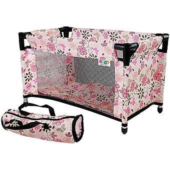 Poppenbed met accessoires - Roze bloemen