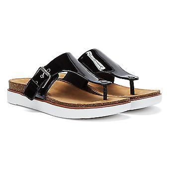 Clarks Elayne Step Patent Womens Black Sandals