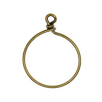 Cerchio in filo avvolto perline TierraCast, per pendenti o orecchini larghi 32 mm, 1 pezzo, ossido di ottone