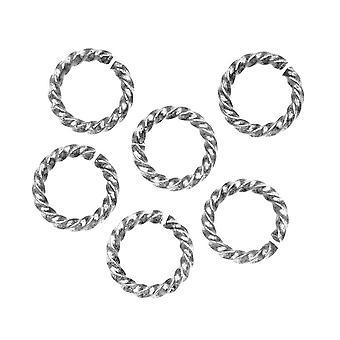 Nunn Design Antiqued Silver pläterade öppna hoppringar Vrid 11,5mm 14 Gauge (10)