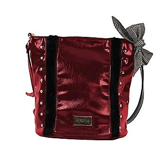 For Time Bolso Cube with Tachuelas - Women's Shoulder Bags, Red (Rojo), 16x26x29 cm (W x H L)
