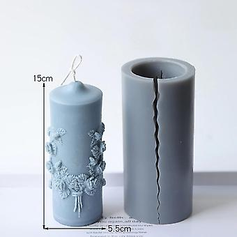 Flower Carved Cylindrical Candle Mold Scented Candle Chocolate Fondant Mold Home Decor(blue)