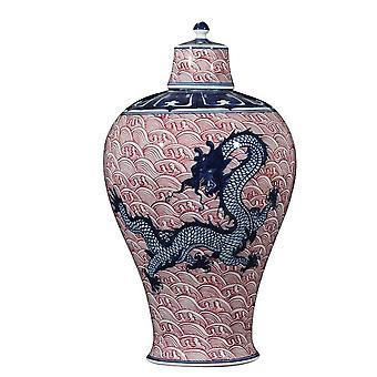 Tischplatte Luxus auf glasierte runde Form Porzellan Keramik blau und weiß chinesische antike Vase