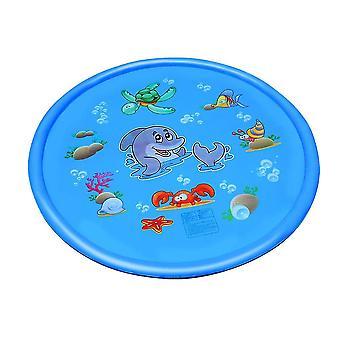 Size2 الأزرق صديقة للبيئة لعب حصيرة لعبة نفخ الطرف في الهواء الطلق الرش رش وسادة المياه رذاذ حصيرة لعبة لحديقة حمام السباحة بارك (الأزرق) dt2217