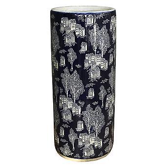 Ceramic Embossed Umbrella Stand, Blue/Natural Village Design