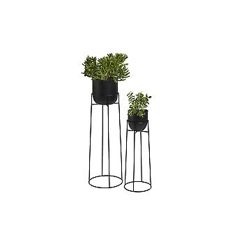 LIFA LIVING Round plant stand in set of 2, Modern flower stand made of black metal for inside, 2x flower stool in industrial design, Ø18 & Ø14 cm