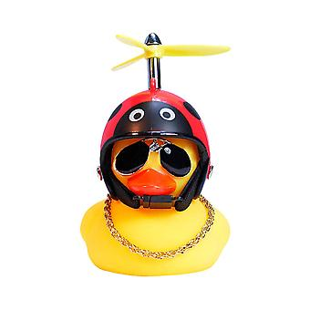 Rubber Yellow Duck Toy Deco,cool Glasses With Propeller Helmet