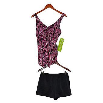 Fit 4 U Swimsuit V-Neck Handkerchief Hem Top with Swim Short Pink A394007